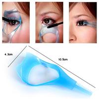 Free Shipping New 3 IN 1 Cosmetic Mascara Applicator Guide Eyelash Comb Cosmetic Brush Curler Eyelash Card L2001