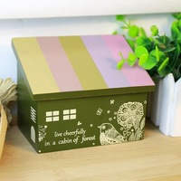 Free shipping BF050 Fashion Wooden storage box house jewelry box makeup lovely box wooden bookend desktop12*10.2*8cm
