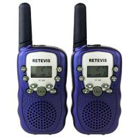 2pcs Blue Walkie Talkie T-388 UHF 462.550-467.7125MHz 0.5W 22CH LCD Display Flashlight VOX Two-Way Radio For Kid Children