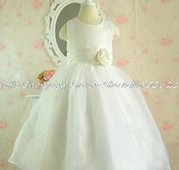 2014 New Girls Dress Floral Flower rose Princess  dress kids sleeveless party wedding tutu veil dress