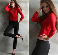 2014 Autumn New Women Blouses Button Solid Long-sleeve Shirt lady Chiffon shirts blusas Women's Slim Clothing Free Shipping