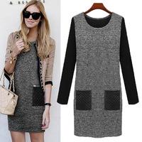 winter autumn dress European American style OL enlarge size women plus size long-sleeved pocket dress bottoming party dress