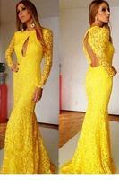 Womwen Evening Dress Yellow Floral Lace Sweeping Mermaid Evening Dress   LC6831 Long vestidos de festa vestido longo