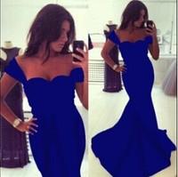 2014 Arrival Royal Blue Sexy Mermaid Evening Dress Party Prom Dress Elegant Train Women Summer Long Gowns S, M, L, XL Under $50