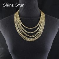 Fashion Statement Collar Gold Plated Multirow Fine Curb Aluminum Chain Choker Short Necklace Women Jewelry Item,C93