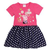 Summer 2014 new peppa pig pig Pepe girls tee lace dress H4561