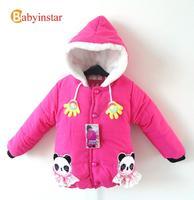 Panda Patterns Baby Girl Parka Plus Fleece:2014 Autumn Winter Kids Clothes 3d Hands Cute Hooded Girls Coat Children Jackets