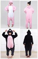 Pig Unisex Adults Casual Flannel Hooded Pajamas Cosplay Cartoon Cute Animal Onesies Sleepwear Suit Nightclothes