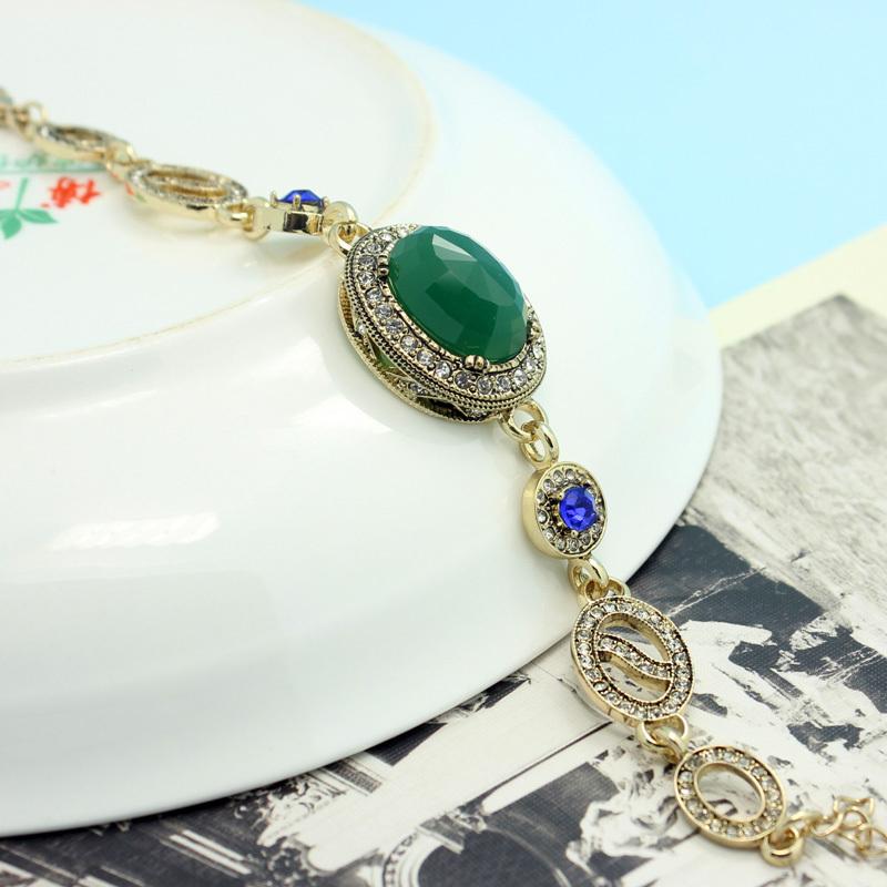 Boutique Marriage Anniversary Accessories Collar Women Vintage Bracelet Jewelries Shiny Brand Resin Emerald Turkish Pulseira Vaz