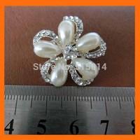 Free shipping !50pcs/lot 25mm small flower pearl rhinestone brooch pins for wedding flower