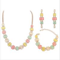 Fashion women's crystal alloy jewelry sets choker necklace earrings charm necklace earrings bracelet for women wedding