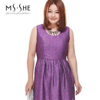 Msshe plus size clothing 2014 autumn o-neck sleeveless one-piece dress 7331