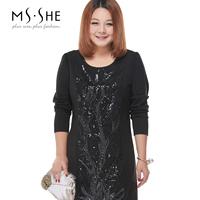 Msshe plus size clothing 2014 paillette patchwork slim elegant one-piece dress 2277