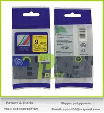 Cheap China 9mm laminated tape black on yellow tz tape tz-621