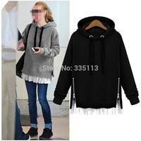 New 2014 Womens Ladies Spring Fall Fashion Coat Sportwear Hoodies Stitching Chiffon Leisure Sweatshirt Black Grey Size L-4XL