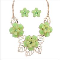 Fashion women's crystal alloy jewelry sets choker necklace earrings camellia necklace charm earrings for women wedding  jewelry