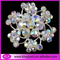 Free Shipping ! 12pcs/lot 45mm flower crystal ab rhinestone brooch for wedding