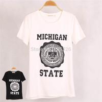 New Fashion Women MICHIGAN STATE Printed T shirt Blusas Casual Short Sleeve Black T-shirt Tops Female Plus Size High quality
