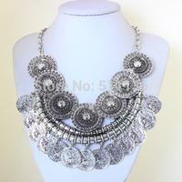 2014 new design bohemian style jewelry fashion vintage alloy metal tassel pendant turkish coin necklace for women kk-sc780