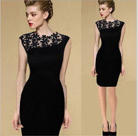 2014 Summer Black Sexy Women Stretch Evening Party Dresses Casual Lace Slim Bodycon Pencil Dresses Vestidos Crochet zex182