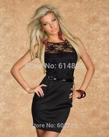 Women Lace embroidered dress sexy package hip dress Slim vestidos Office Voile Temperament Charm Bodycos Elegant vest Dress