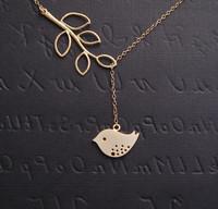 Valentine Day Gift Bird Necklace Lariat. Silver  Leaf Branch