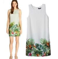 2015 European Style Women Summer Spring Dress O-neck Sleeveless Rainforest Printing Hem Polyester Famous Brand CL2374