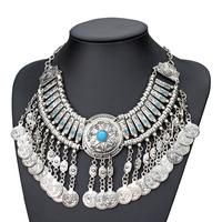 fashion bohemian design blue stone alloy coin tassel pendant necklace silver plated length 40cm