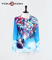 1724 YouAxon Free Shipping Plus Size Cute Blue 3D Print Long Sleeve Sport Hoodies Ropa Mujer HOody For Women a+ Sweatshirt