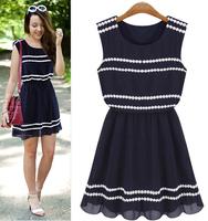 WZ12-21 2015 Summer New Women'S Fashion Sleeveless Lace Dress Navy Blue Chiffon Dress