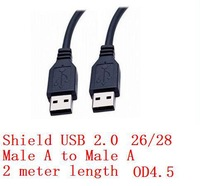 1 piece Shield USB Cable Male  A to Male A UL2725 28 AWG 1P 26 AWG 2C with AL Braid OD4.5 Black PVC New Rohs