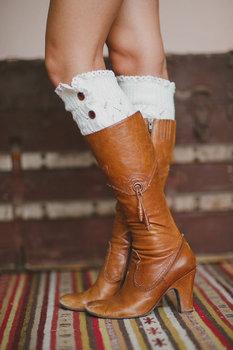 Зима женщина загрузки манжеты носки вязание шерстяные теплые гетры до колена комплект ...