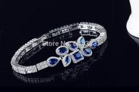 Fashion new 2015 saphire blue inlaied cubic zirconia bracelet & bangle link zircon wedding jewelry for bride