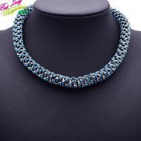2015 New ZA Brand Fashion Blue Gem Crytsal Women Luxury Collar Clain Women Big Brand Jewelry 9746