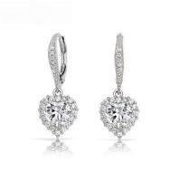 High Quality Hearts Shape Drop Earrings Swiss Cubic Zircon Crystal for Women Wedding Bamoer Jewelry