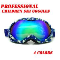 Children Kids Skiing Snow Sled Goggles Anti-fog Double lenses Children Ski Goggles Free Shipping