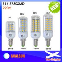 1Pcs E14 5730 SMD LED Corn Bulb AC 220V 7W 12W 15W 18W High Luminous Spotlight LED lamp light