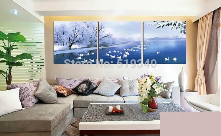 Dekorasyon kanepe duvar resimleri mozaik sahne kış kar 3pcs/set