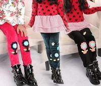 New Kids Girl villi wool Flower Pants ,Winter girls tight pants, Children's warm trousers