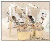 Summer New Arrival 2014 Women's Shoes Sexy Button Open Toe Platform Female 18cm High Heel Sandals 103-2