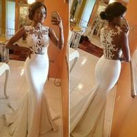 Long Evening Dress 2014 Back Sheer Sleeveless Mermaid Prom Dress White Formal Dresses vestidos de fiesta