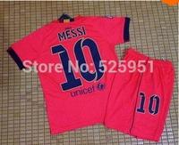 14 15 kids for MESSI NEYMAR JR A INIESTA SUAREZ XAVI Soccer Jerseys shirt  +14-15  children and youth short pants set