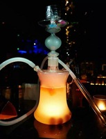 2014 New design glass hookah shisha/nargile/water pipe/hubbly bubbly/chicha with good quality led light base