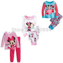 Minnie Mouse Pajamas Girls Top Shirt Legging Set Kids Nightwear Sleepwear(China (Mainland))