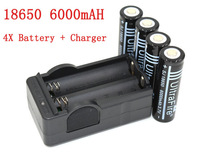 Free Shipping 4PCS Battery 18650 Dual Wall Charger 6000mAh 3.7v Rechargeable Battery + US/EU  Travel Dual Charger