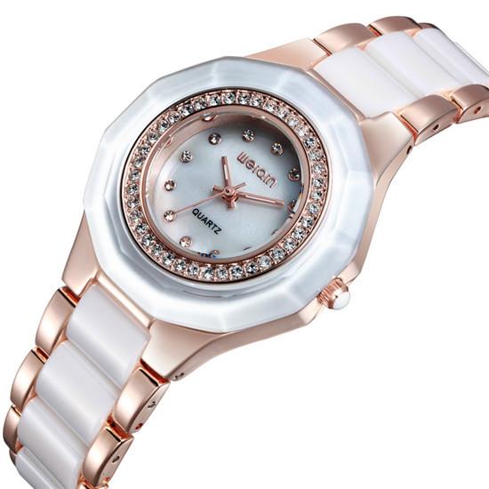 Woman Watches Stainless Steel And Ceramic Watch WEIQIN Brand Luxury Fashion Apparel Rhine Stone Jewelry Waterproof Quartz Watch(China (Mainland))