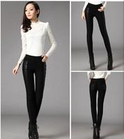winter high waist velvet  thick PU-cotton stitching women pants PU leather female pants warmly winter pants