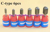 C-type 6pcs/set CYLINDER BALL CARBIDE ROTARY BURR FILE 6MM Shank