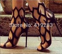 New Arrivals Flame Cut-out High Heel Sandals Open Toe Back Zipper Cage Shoes Women Designer Celebrity Party Shoes Women