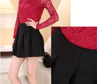 women high waist skirt for autumn winter fashion casual short skirt clothes sexy mini skirt black red color pleated casual